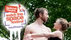 National Theatre Watch This Space Festival Southwark. A couple embracing beneath trees