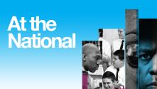 National Theatre 50 at the National with thin vertical strips of past play images