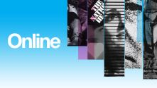 National Theatre 50 online with thin vertical strips of past play images