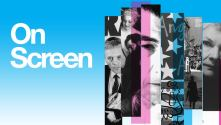 National Theatre 50 on screen with thin vertical strips of past play images