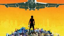 Behind the Beautiful Forevers. Collage of a boy on a rubbish heap with a passenger jet flying overhead
