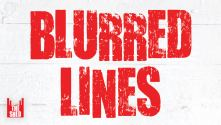 Blurred Lines - title treatment in red against white wood grain with Shed logo
