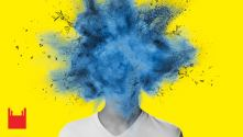Brainstorm. Teenage boy with blue exploding head