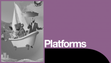 Connections Writers Platform. Graphic image of a bathtub sailboat at sea with assorted passengers