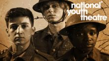 National Youth Theatre Private Peaceful - sepia close-up photo of 3 soldiers