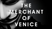 National Youth Theatre: The Merchant of Venice, Title in white, over a B&W photo of a V for Vendetta mask