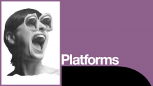 On We Want You to Watch Platform. Image of female head with wide open mouths for eyes