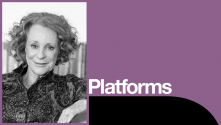 Philippa Gregory Platform. B&w photo of Philippa Gregory