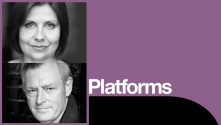 Rebecca Front and Michael Simkins Platform poster with photos of both