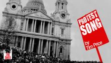 Protest Song. Photo of west face of St Paul's, with Protest Song in white on a red placard with Shed logo