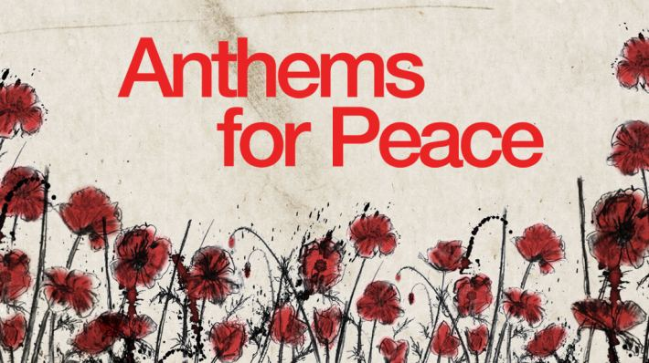 Anthems For Peace - Title over illustration of poppies