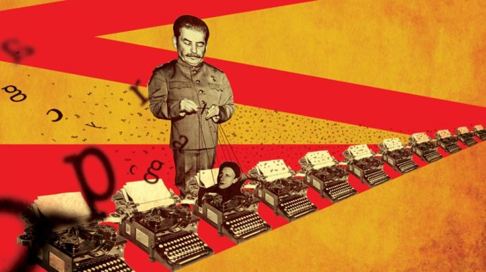 Photomontage of Stalin as puppetmaster of Bulgakov