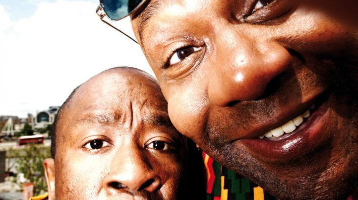 Close up photo of Lenny Henry and Lucian Msamati