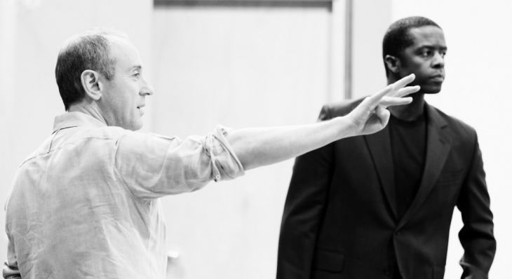 Nicholas Hytner and Adrian Lester in rehearsals for Othello, 2013