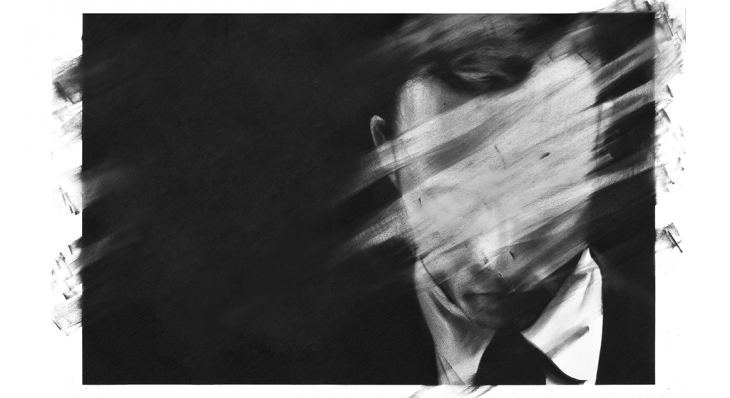 Waste, by Harley Granville Barker. Image: Charcoal on paper a man's head, smudged, by Valentin van der Meulen. 'Untitled 07'. 2013.